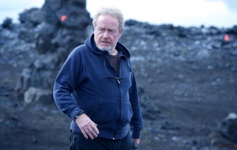 Ridley Scott on Prometheus set