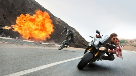 Tom Cruise on motorcycle in Mission: Impossible - Rogue Nation