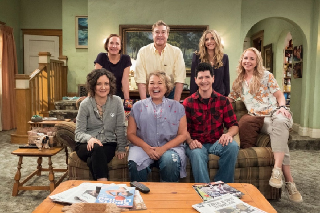Roseanne cast looking at camera